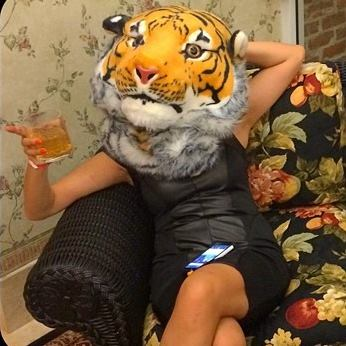 This was me at Comic Con. Well, the tiger head was actually a backpack. And it got a lot of attention--some good, some bad, haha.